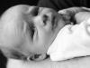 black and white portrait of newborn baby